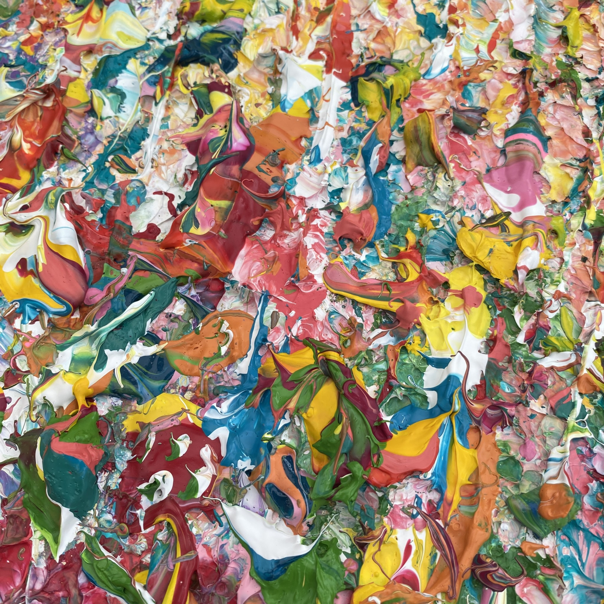 A detailed image of Tropics is a uplifting, vibrant, tropical colour palette sculpted in my unique impasto style. Escape to paradise whilst viewing this Painting.