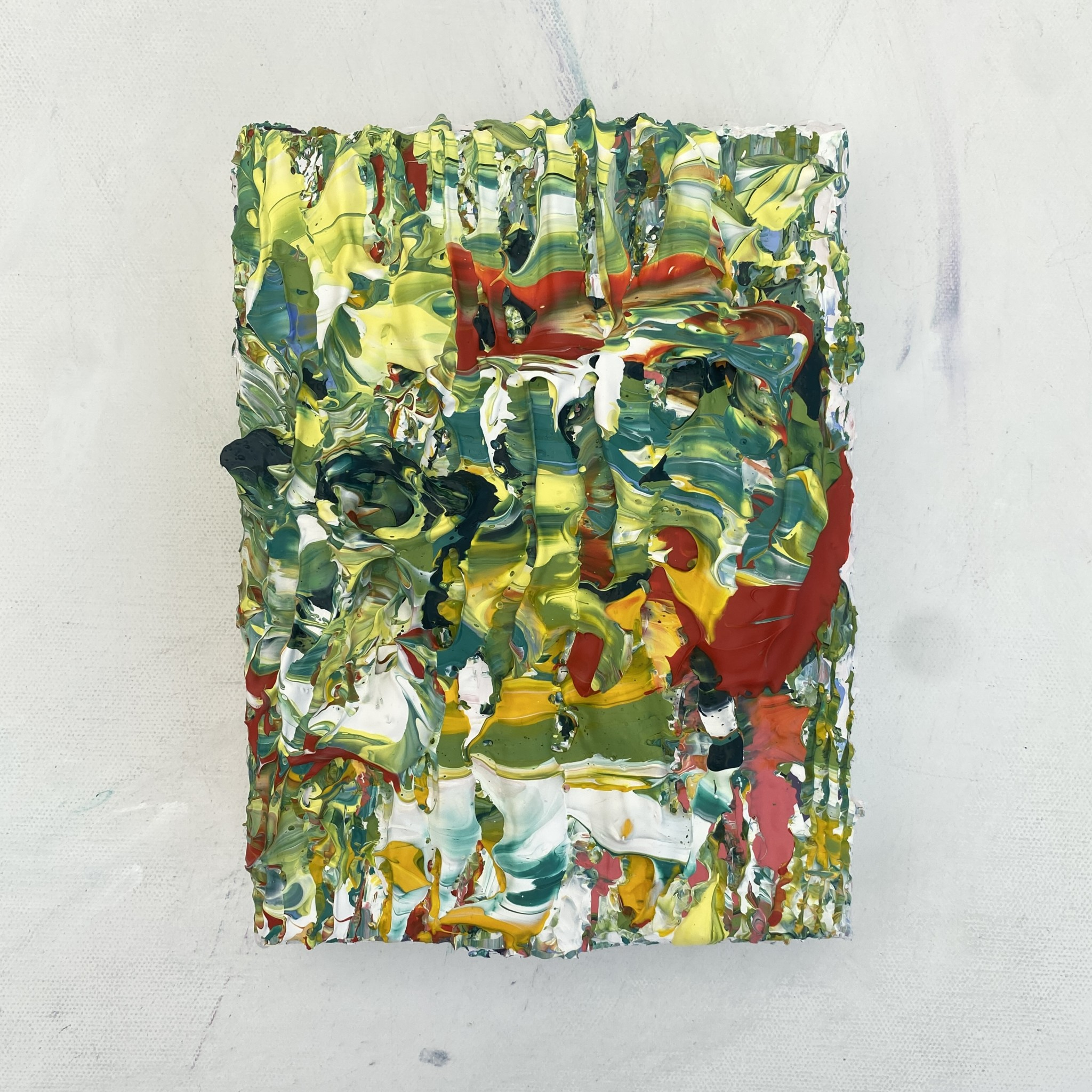 Gallery View of Rainforest mini original abstract textured painting by Emily Duchscherer Kirk.