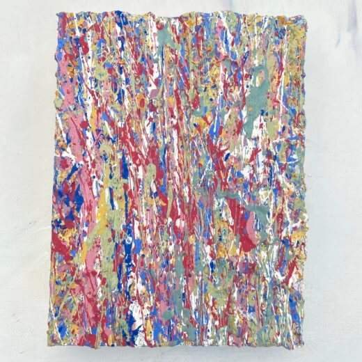 full view of Elements One a colourful abstract artwork created using plastic free environmentally friendly paints by somerset artist emily duchscherer kirk