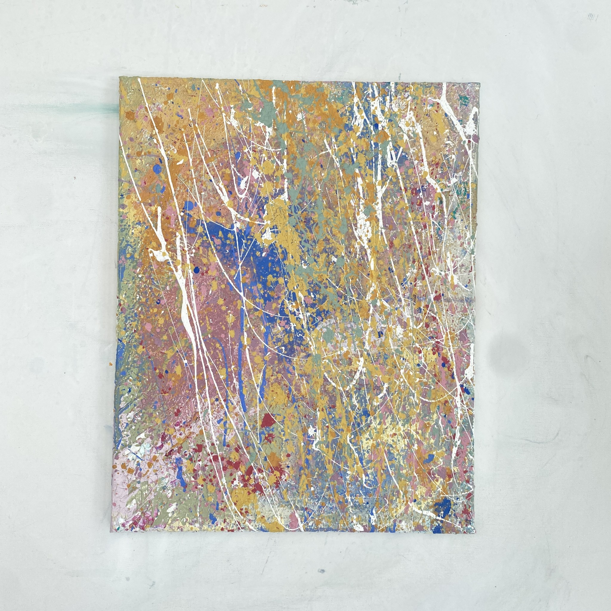 Gallery view of elemental an abstract original painting created with eco friendly paints by Emily Duchscherer Kirk.