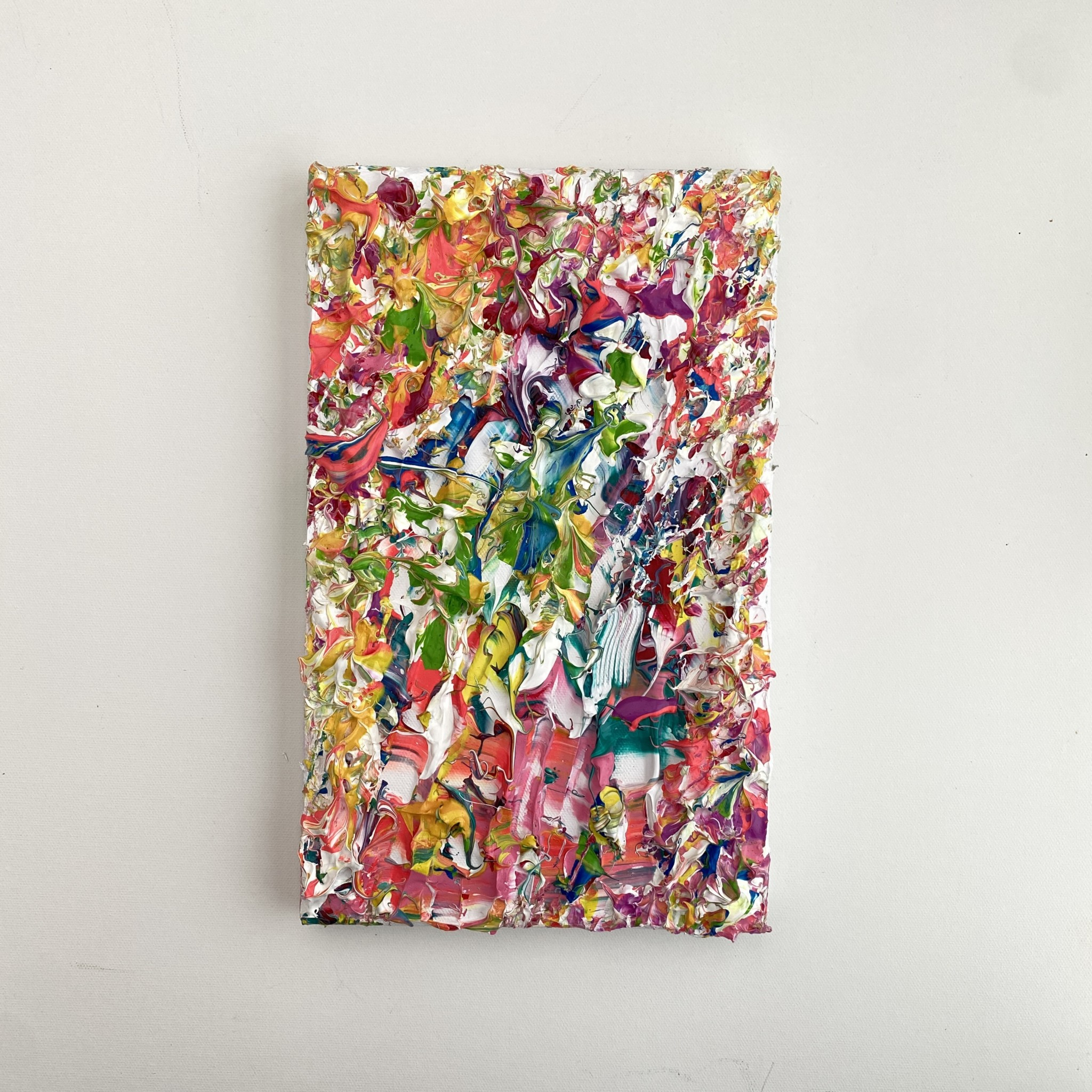 gallery full view of Think Pink an plant life inspired colourful pink abstract original impasto style art by Emily Duchscherer Kirk.