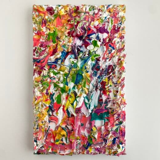 Gallery view of Think Pink an plant life inspired colourful pink abstract original impasto style art by Emily Duchscherer Kirk.