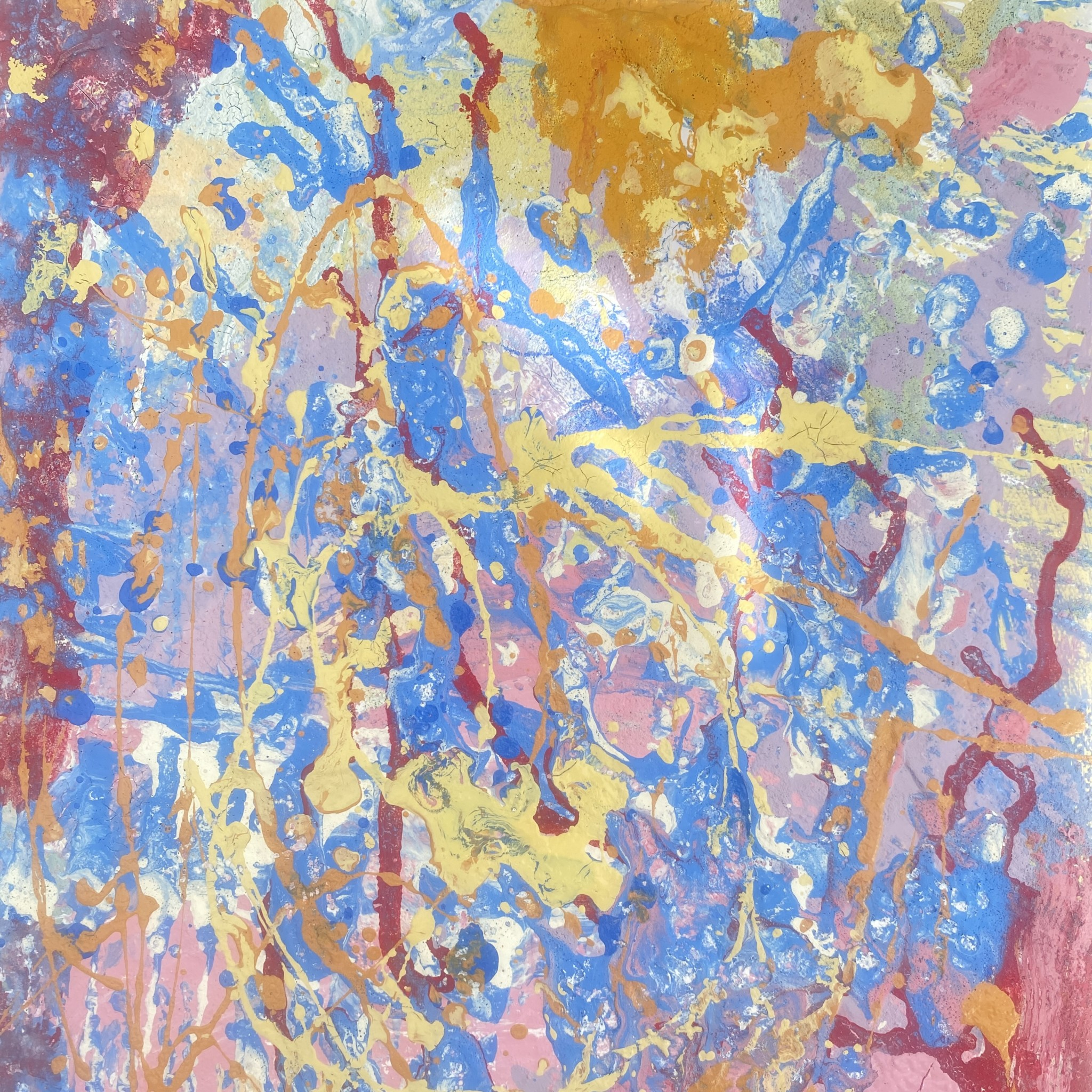 Elements an abstract original painting created with eco friendly compostable paints by Emily Duchscherer Kirk.
