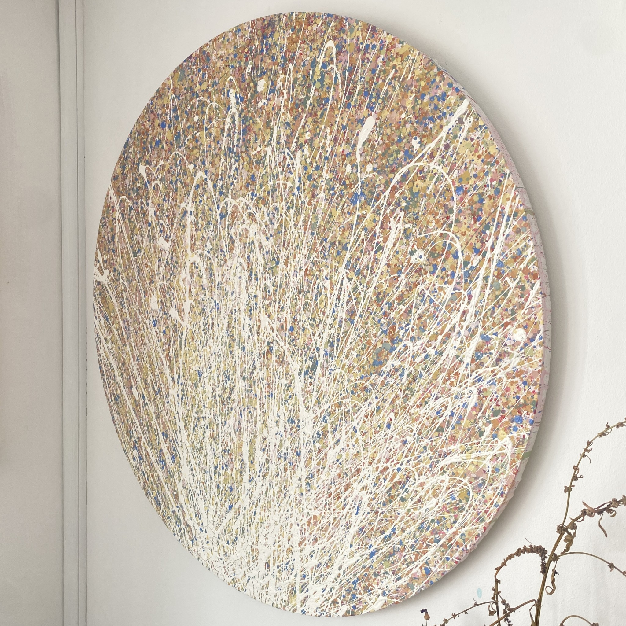 a gallery view of early autumn in somerset by somerset artist emily dduchscherer kirkcreated with environmentally friendly, water based paints which show hints of a glossy sheen this circular artwork is finished a satin varnish that gives a three dimensional affect this round textured abstract painting is made on a cotton canvas measuring 60 centimetres in diameter which is approximately 24 Inches Early Autumn in Somerset was completed in my home studio located in South Somerset September 2021